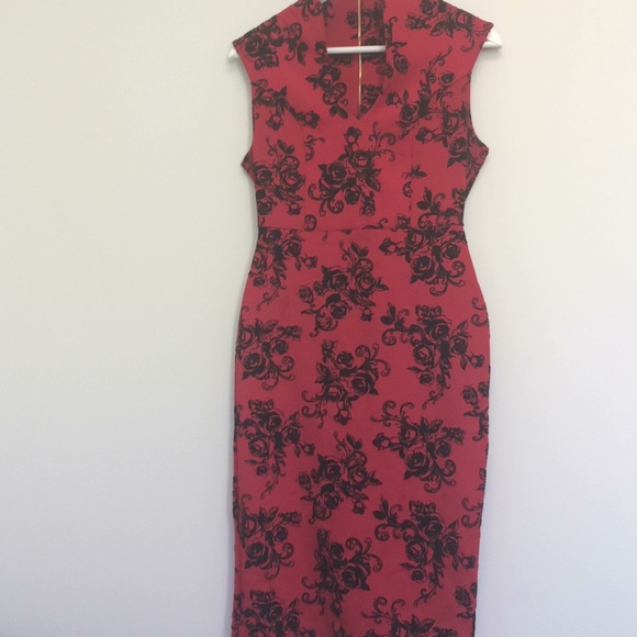 3f4fc0147073 Almost Famous Dresses | Red Black Sleeveless Midi Dress M | Poshmark